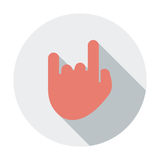 Rock and roll sign. Single flat color icon. Vector illustration Stock Photography