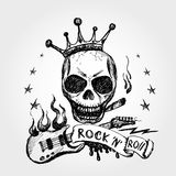 Rock and roll skull guitar . Hand drawing. Royalty Free Stock Photo