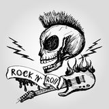 Rock and roll skull guitar . Hand drawing. Stock Image