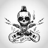 Rock and roll skull guitar . Hand drawing. Royalty Free Stock Photos