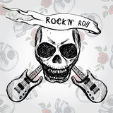 Rock and roll skull guitar . Hand drawing Royalty Free Stock Photos
