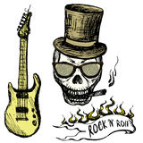 Rock and roll skull in hat and glasses ,guitar . Stock Images