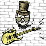 Rock and roll skull in hat and glasses ,guitar . Stock Photography