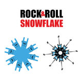 Rock and roll snowflakes. Rock hand sign in form of snowflakes. Stock Photos