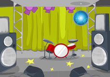 Rock&Roll Stage Cartoon Stock Image