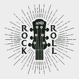 Rock and roll stamp with guitar. Graphic design for clothes, t-shirt, royalty free illustration
