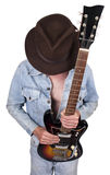Rock and Roll Star Musician Guitar Player Concept. Concept for a rock and roll star. Male guitar player and musician. Isolated on white royalty free stock photography