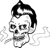 Rock and Roll style skull vector illustration stock photo