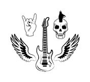Rock and Roll Symbols Electric Guitar Punk Skull. Rock and roll symbols as electric guitar, punk skull, crown hand gesture and two wings vector illustrations in Stock Photography