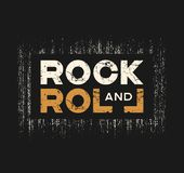 Rock and roll t-shirt and apparel design with grunge effect and. Textured lettering. Vector print, typography, poster, emblem vector illustration