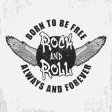 Rock and roll t-shirt design with wings and grunge. Rock-n-Roll typography graphics for tee shirt with slogan. Apparel print. royalty free illustration