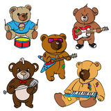 Rock and roll Teddy bear for children drawn hero,print for t shirts,stickers and labels,tattoo Royalty Free Stock Images