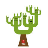 Rock and roll tree. Fantastic tree from rock hand sign. Plant fo Stock Photos
