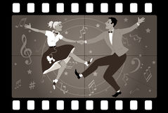 Rock and roll TV. Couple dancing 1950s style rock and roll in an old movie frame, EPS 8 vector illustration stock illustration