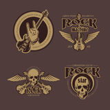 Rock and Roll vector color vintage emblems, labels, badges, logos set Royalty Free Stock Photo