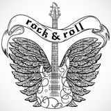 Rock and roll. Vintage poster with electric guitar, ornate wings and ribbon banner. Retro vector illustration. Stock Image