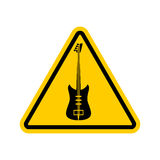 Rock and roll Warning sign. Caution rock music. Danger road symb Royalty Free Stock Images
