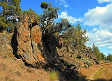 Rock Row. Rock formations along the Tumalo Canal Trail near Tumalo, OR royalty free stock images