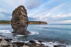 Rock on Russkiy island, Vladivostok, Russia. Slow shutter, beach at Russkiy island Stock Photo