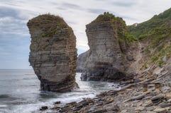 Rock on Russkiy island, Vladivostok, Russia. View of Rock on Russkiy island, Vladivostok, Russia Stock Photography