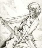 Rock 80s. Retro Vintage pencil drawing graphics arts by hand Musician Rock 80s Stock Images