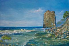 The rock `Sail` seascape. Painting on canvas royalty free stock image