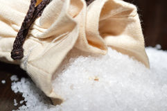 Rock salt in a jute bag - closeup of salt mineral crystals Stock Image