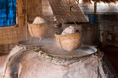 Rock salt making industry. Traditional boiled rock salt making industry stock image
