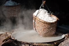 Rock salt ponds, nan, Thailand Stock Photography