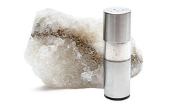 Rock salt with saltshaker Stock Photography