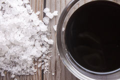 Rock salt and soy sauce Royalty Free Stock Photography