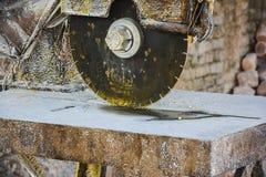 Rock Salt Tiles Cutting Machine. – Somewhere near Quaidabad, Khushab, Punjab, Pakistan Royalty Free Stock Photography