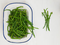 Rock samphire on a white table Stock Image