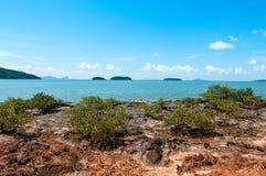 Rock sand beach with green bushes on small island near Koh Lanta Royalty Free Stock Photography