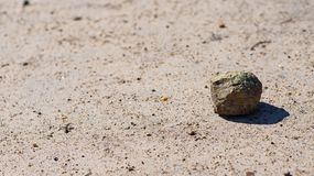 Rock in sand isolated on white background and texture. Single stone on white sand stock photos