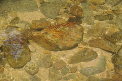 Rock and sand on river ground with clear water Royalty Free Stock Images