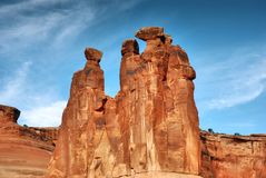 The three Gossips, rock sculpture in Arches national Park stock photography
