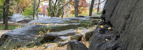 Rock scape Central Park in the fall Royalty Free Stock Photography