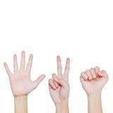 Rock , Scissors , Paper , Hand posing Stock Photo