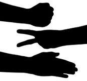 Rock scissors paper silhouette Stock Images