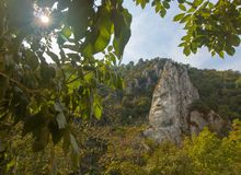 Rock sculpture of Decebalus stock images