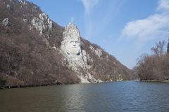 Rock sculpture of Decebalus, Romania. The Statue of Dacian king Decebalus is a 40-meter high statue that is the tallest rock sculpture in Europe. It is located Stock Images