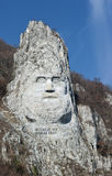 Rock sculpture of Decebalus, Romania. The Statue of Dacian king Decebalus is a 40-meter high statue that is the tallest rock sculpture in Europe. It is located Royalty Free Stock Image