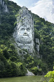 Rock sculpture of Decebalus, Romania Royalty Free Stock Images
