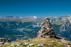 Rock sculpture on mountain. An arty rock sculpture on the top of a mountain peak Royalty Free Stock Photography