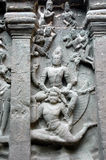 Rock sculptures Ellora caves Stock Photos