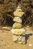 Rock sculptures on Prai da Oura Beach at Albuferia Portugal stock photography