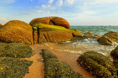 The rock at sea beach Stock Images