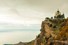 The rock, the sea and the beautiful Church of the Resurrection o. F Christ in Foros in the Crimea, Russia stock images