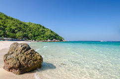 Rock sea and blue sky at Ta-Yai beach Stock Images